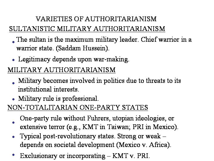 a comparison of political regimes in democratic and authoritarian Democracy and authoritarian  these institutions keep each other in check thus protecting political freedom the democratic  while in authoritarian regimes.